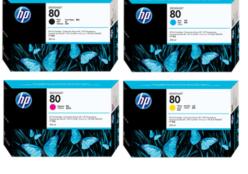 HP 80 (C4874A) inkt cartridge magenta (origineel), HP 80 (C4871A) inkt cartridge zwart (origineel), HP 80 (C4872A) inkt cartridge cyaan (origineel), HP 80 (C4873A) inkt cartridge geel (origineel)
